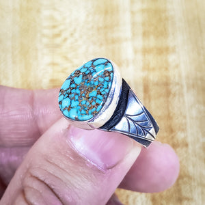 Natural Kingman Turquoise Ring With Leaves