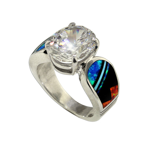 Brilliant CZ and Opal Ring by David Rosales