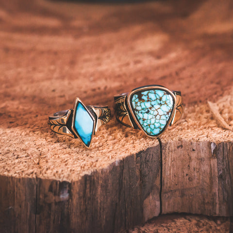 Glandon Turquoise Wedding Rings