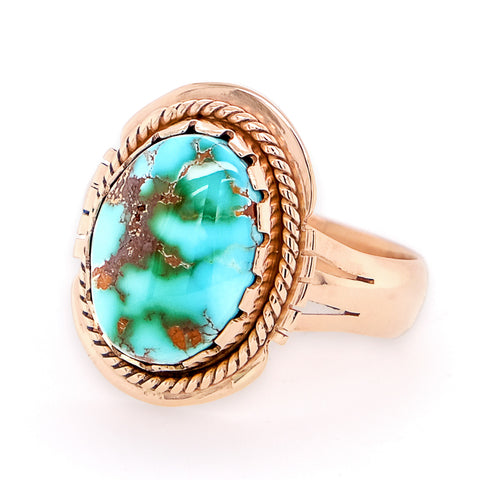 Handmade Gold Royston Turquoise Ring - Side