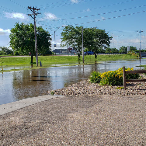 Flood Waters Rising Outside Stagecoach - Kearney, NE