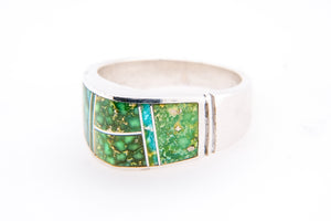 David Rosales Domed Sonoran Gold Turquoise Ring - Side