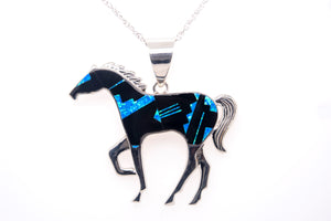 David Rosales Fancy-Cut Black Beauty Horse Pendant