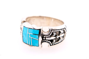 David Rosales Fleur-de-lis Turquoise Ring - Side
