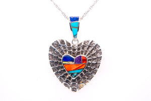 David Rosales Indian Summer Spiderweb Heart Pendant