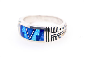David Rosales Lined Blue Sky Band Ring - Side