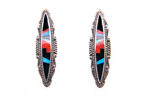 David Rosales Red Moon Scroll Earrings - Native American Jewelry