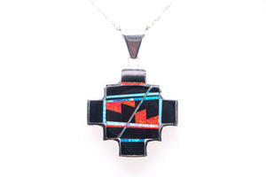 David Rosales Reversible Red Moon and Turquoise Pendant - Front