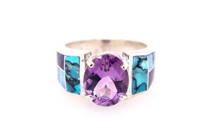 David Rosales Amethyst Ring - Front - Native American Jewelry