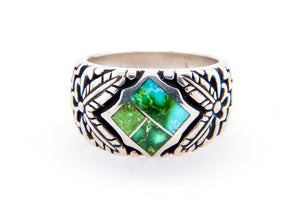David Rosales Sonoran Gold Turquoise Ring - Front