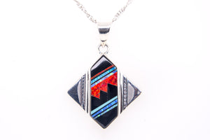 David Rosales Square Red Moon Pendant - Native American Jewelry