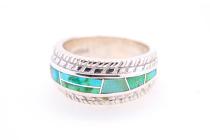 David Rosales Tire-Track Sonoran Turquoise Ring - Side