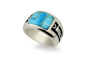 David Rosales Barbwire Men's Turquoise Ring