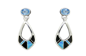 David Rosales Black Beauty and Blue Topaz Earrings