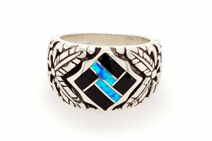 David Rosales Black Beauty Feather Native American Ring - Front