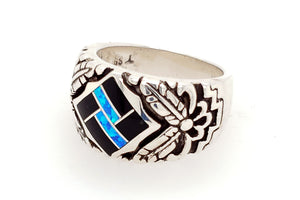 David Rosales Black Beauty Feather Native American Ring - Side