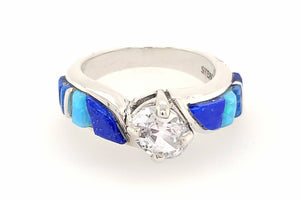 David Rosales Blue Sky CZ Ring - Native American Jewelry