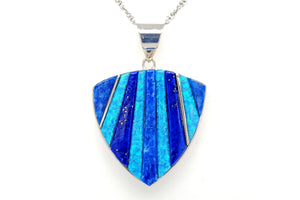 David Rosales Blue Sky Shield Pendant - Native American Jewelry