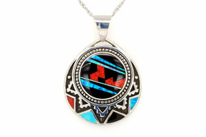 David Rosales Fancy Aztec-Styled Red Moon Pendant