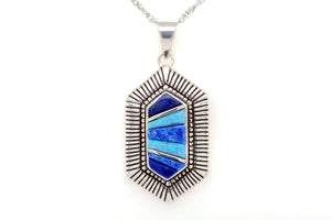 David Rosales Hexagonal Blue Sky Pendant - Native American Jewelry