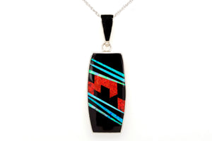 David Rosales Rectangular Red Moon Pendant - Native American Jewelry