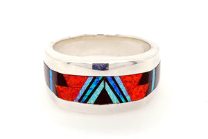 David Rosales Red Moon Man's Band Ring - Front