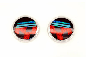 David Rosales Round Red Moon Earrings - Native American Jewelry