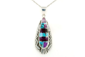 David Rosales Silver Arrow Shalako Pendant - Turquoise Jewelry