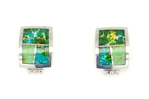 David Rosales Square Sonoran Gold Turquoise Earrings