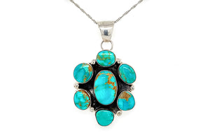 Handmade Turquoise Cluster Pendant