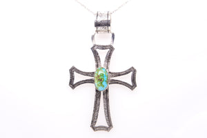Sonoran Gold Turquoise Cross Pendant by Gary Glandon