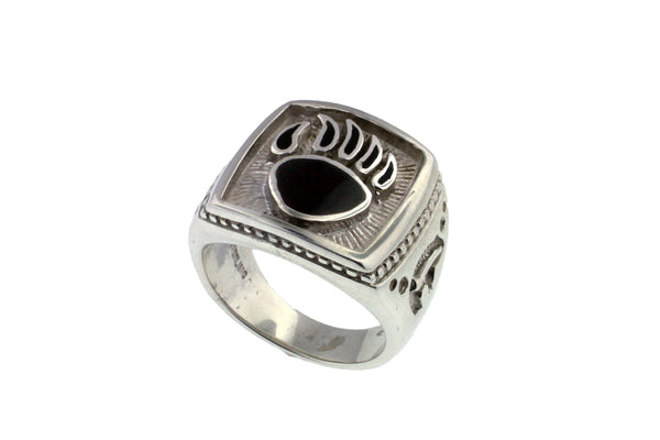 Bear Paw Silver Men's Ring by David Rosales - Native American Jewelry