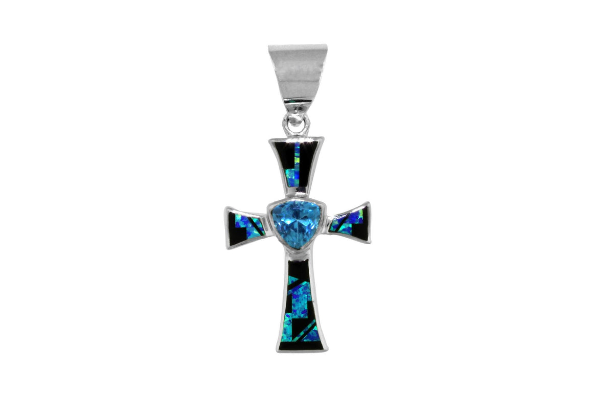 Native American Jewelry - Beautiful David Rosales Handmade Inlaid Cross