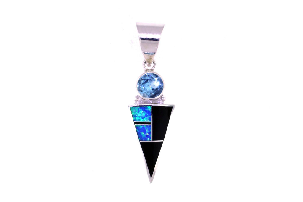 Jewelry - Blue Created Opal, Black Jade, And Blue Topaz Pendant
