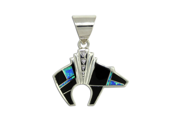 Native American Jewelry - David Rosales Black Beauty Bear Pendant