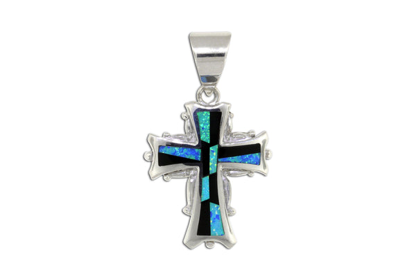 Native American Jewelry - David Rosales Black Beauty Cross Pendant