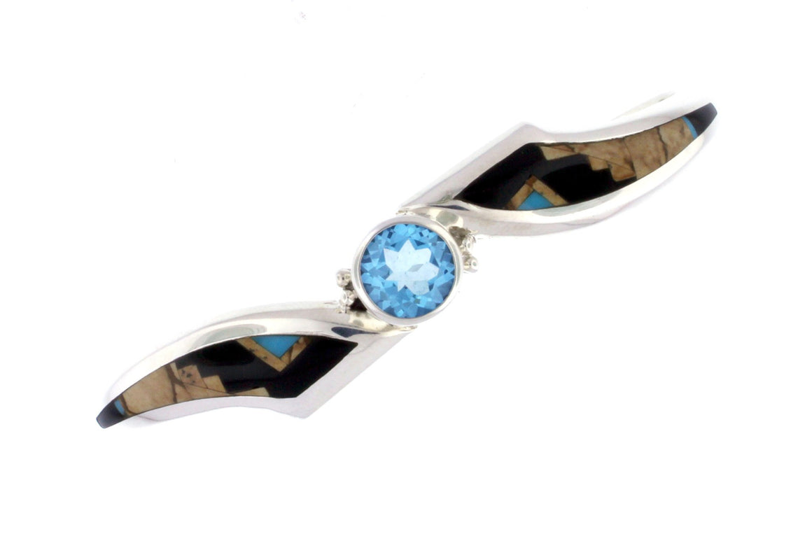 Native American Jewelry - David Rosales Blue Topaz Inlaid Bracelet