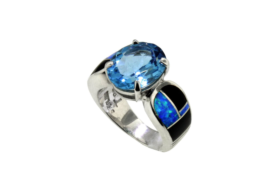 Native American Jewelry - David Rosales Blue Topaz Ring