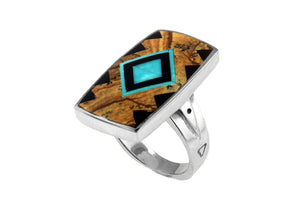 Native American Jewelry - David Rosales Inlaid Native American Ring