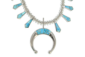 Native American Jewelry - David Rosales Inlaid Turquoise Squash Blossom Necklace