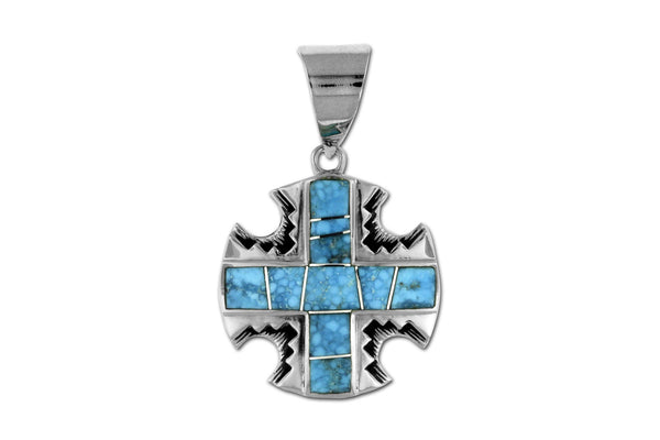 Native American Jewelry - David Rosales Kingman Turquoise Cross Pendant