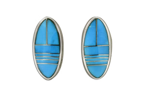 Native American Jewelry - David Rosales Kingman Turquoise Earrings
