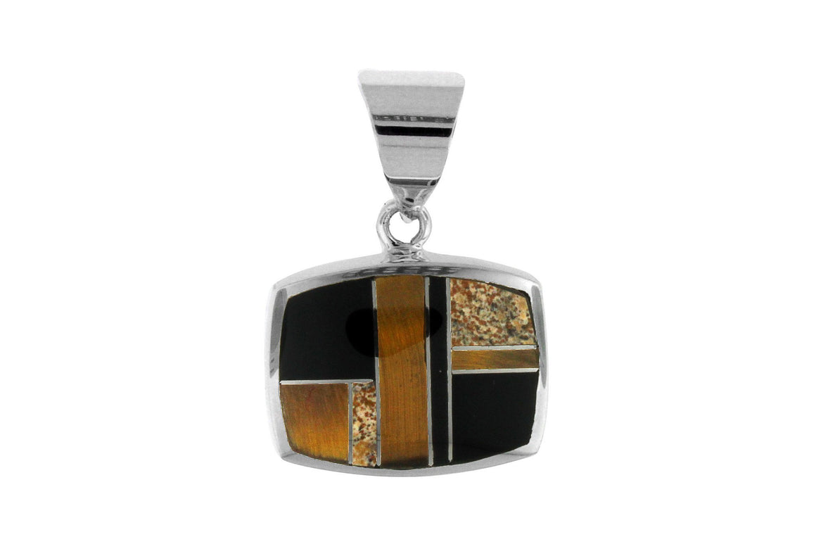 Native American Jewelry - David Rosales Tiger Eye Inlaid Pendant
