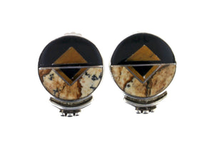 Native American Jewelry - David Rosales Round Native Earth Earrings