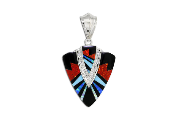 Native American Jewelry - David Rosales Red Moon Arrowhead Pendant