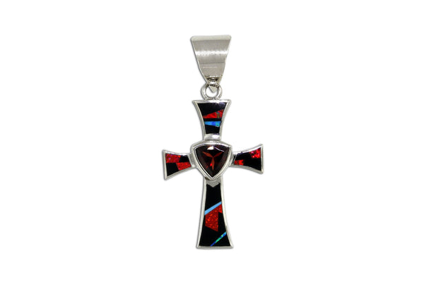 Native American Jewelry - David Rosales Red Moon Cross Pendant
