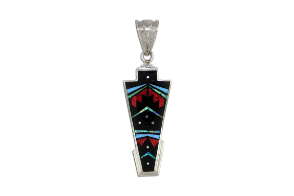 Native American Jewelry - David Rosales Red Moon Inlaid Pendant