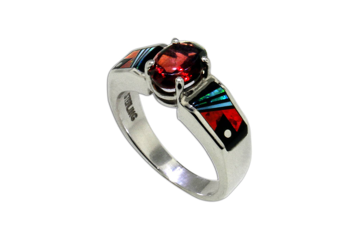 Native American Jewelry - David Rosales Red Moon Garnet Ring