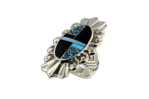 David Rosales Shadow Peak Ring - Native American Turquoise Jewelry