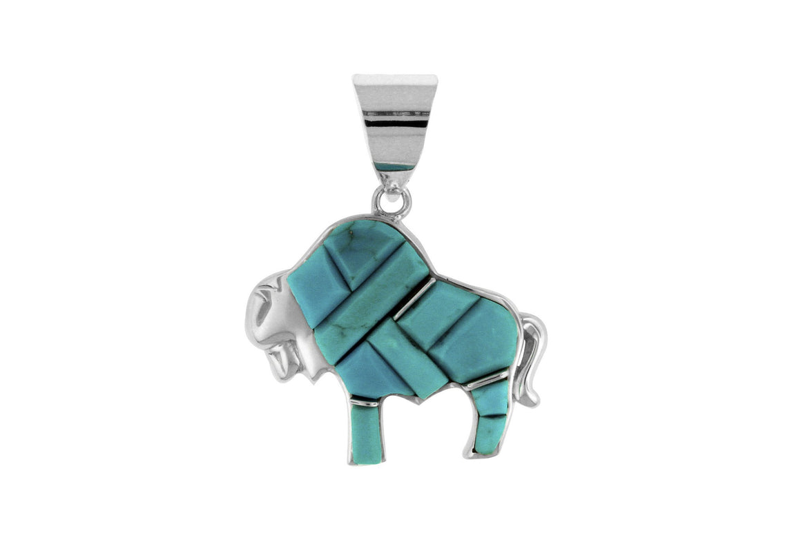 Native American Turquoise Jewelry - David Rosales Buffalo Pendant